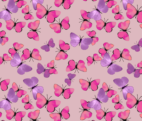 pink and purple butterflies dollhouse wallpaper fabric