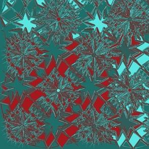 Starburst Metallic Quilt Red Aqua