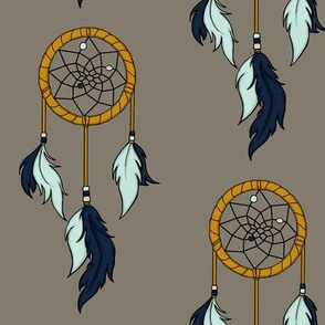Dream Catchers - navy, mint, gold on taupe/brown