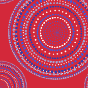 Dancing dervish circles  or mandala on red, LARGE, by Su_G