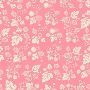 White on Pink Gooseberry All Over Design -Medium