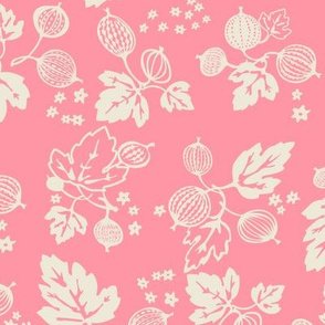 White on Pink Gooseberry All Over Design-Large