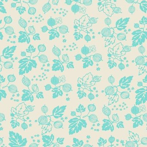 Turquoise On White Gooseberry All Over-Medium