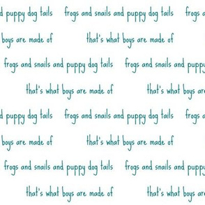 frogs and snails script in teal