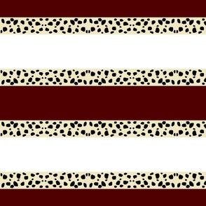 Cheetah Stripes Horizontal  -  Maroon Snow