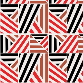 Camel Red Black Stripe Blocks