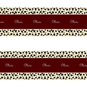 Cheetah Stripes Horizontal  PERSONALIZED -  Maroon Snow