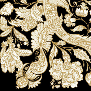 Dutch Sitsen ~ Anika ~ Gilt Gold and White on Black