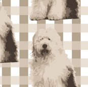 Old English Sheep Dog on Tan Tartan_Miss Chiff Designs