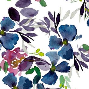 {Watercolor Floral Bouquet- white}