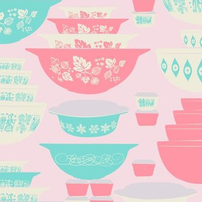 Pink and Turquoise Pyrex-Large
