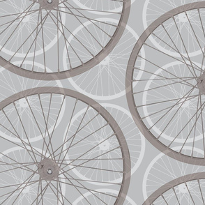 Large scale bike wheel in gray and white