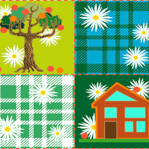 Family tree colorful patchwork