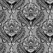 Gray & Black Ikat Floral