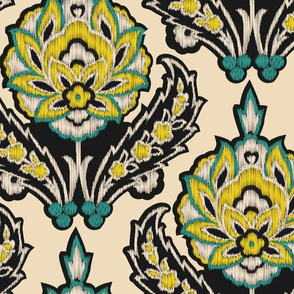 Cream Teal and Yellow Ikat