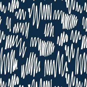 Scribblings and doodles fun abstract ink lines Scandinavian style navy blue white