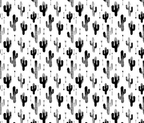 Black and white watercolors ink cactus garden gender