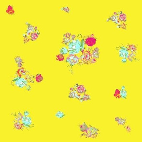 Small Print Vintage Floral // Yellow