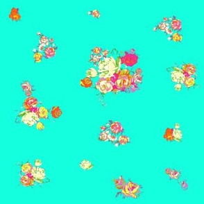 Small Print Vintage Floral // Turquoise