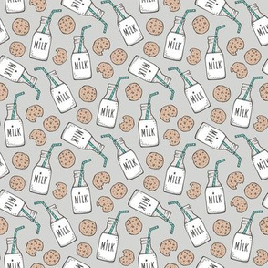 Milk and Cookies on Light Grey Smaller Tiny