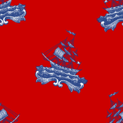 Ships Upon Sea ~ Willow Ware Blue and White on Richelieu Red