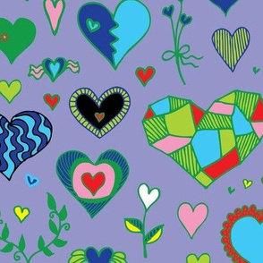 Hearts - Multicolored on blue