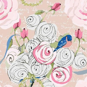 Bluebirds and roses on  Blush with white french script-ch