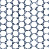 White polka dots on navy + white linenWeave