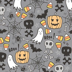 Halloween Doodle with Skulls,Bat,Pumpkin,Spiderweb,Ghost on Grey