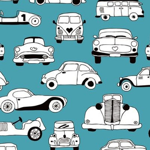 Cool vintage classics cars trendy scandinavian style design retro print for boys and girl blue