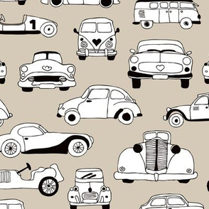 Cool vintage classics cars trendy scandinavian style design retro print for boys and girl gender neutral beige
