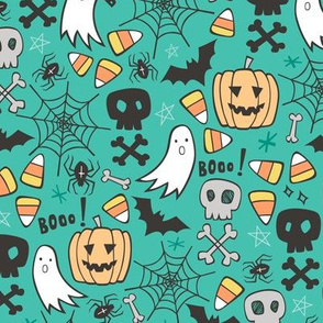 Halloween Doodle with Skulls,Bat,Pumpkin,Spiderweb,Ghost on Green