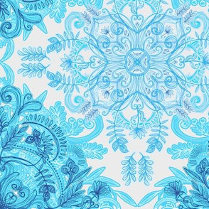 Symmetrical Pattern in Blue and Turquoise