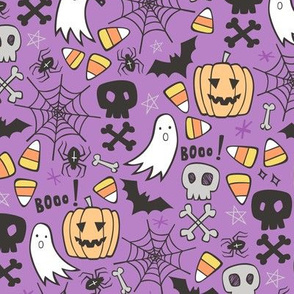Halloween Doodle with Skulls,Bat,Pumpkin,Spiderweb,Ghost on Purple