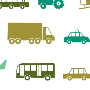 Vehicles in green
