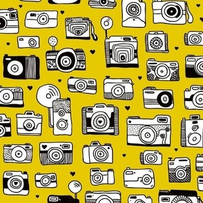 Vintage camera memories cool retro toy camera photagraphy design gender neutral ochre yellow