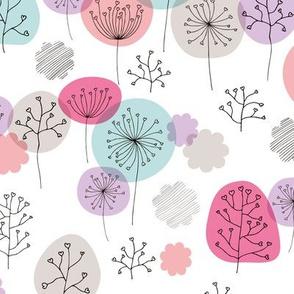 Summer forest garden soft pastels scandinavian plants branches and flower pink lilac