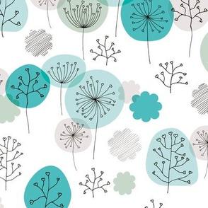 Winter forest garden soft pastels scandinavian plants branches and flower blue mint