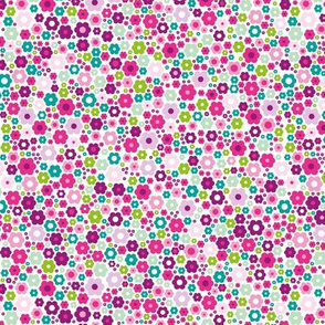 Colorful abstract summer daisies sweet flowers garden green pink purple