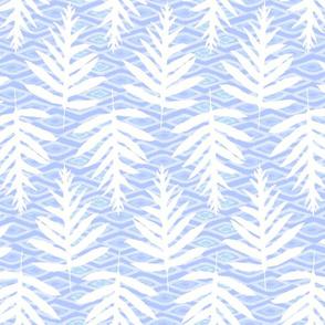 Ferns Over Diamonds Lilac Blue 200