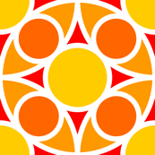 R4X circle mix : yellow orange vermilion red