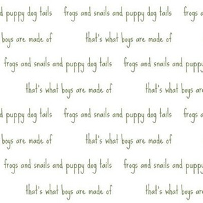 frogs and snails script in green