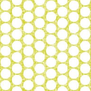 P_White polka dots on acid yellow linen weave