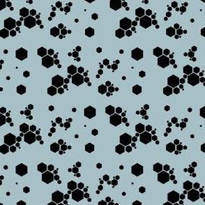 Hexagons on duck egg blue