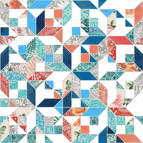Patchwork Patterns in Coral Red, Blue and Navy on White