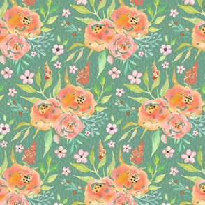 Fresh Summer - Peach / Sage Floral