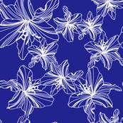 Navy Blue Flower Sketch - Large
