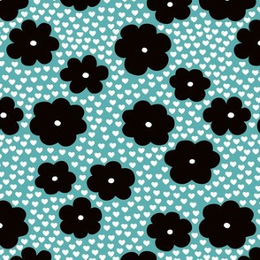 Cool scandinavian style abstract flowers dots and spots brush memphis garden summer blue black and white