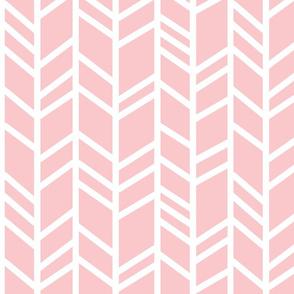 Crazy herringbone - white on pink