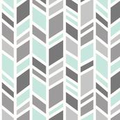 crazy herringbone - mint,grey, ivory